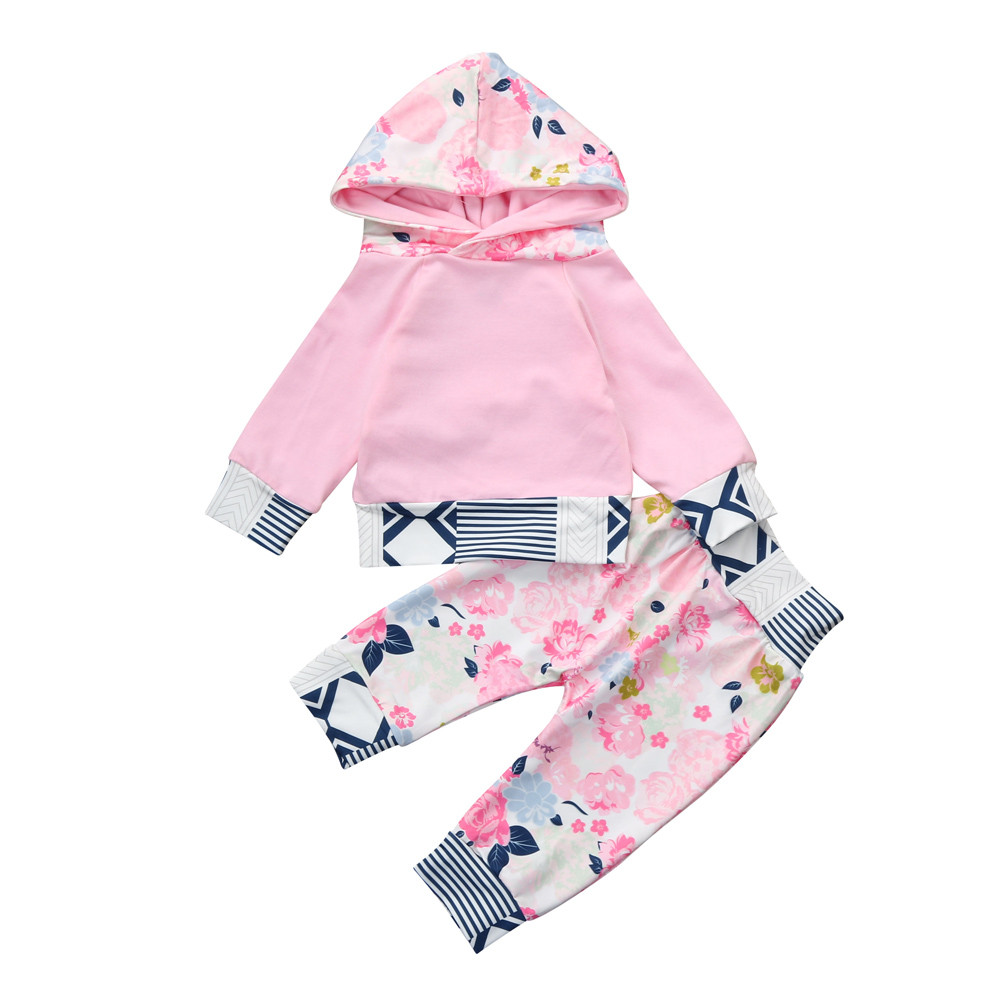 MUQGEW Kids Clothes Winter Long Sleeve Hooded Cotton Newborn Baby Floral Hoodie Tops+Pants 2Pcs Outfits Girls Clothes Set
