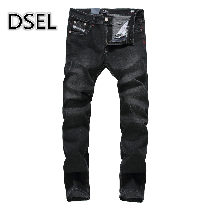 New Fashion Mens Black Jeans Ripped Denim Trousers Slim Fit Strong Stretch Jeans Men Dsel Brand Jeans Elastic With Logo 707-5 2017 slim fit jeans men new famous brand superably jeans ripped denim trousers high quality mens jeans with logo ue237