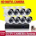 960 h 8ch sistema de cámaras de video vigilancia cctv seguridad con 8 unids 900tvl cámara al aire libre dvr kit hdmi 1080 p de 8 canales nvr ahd dvr