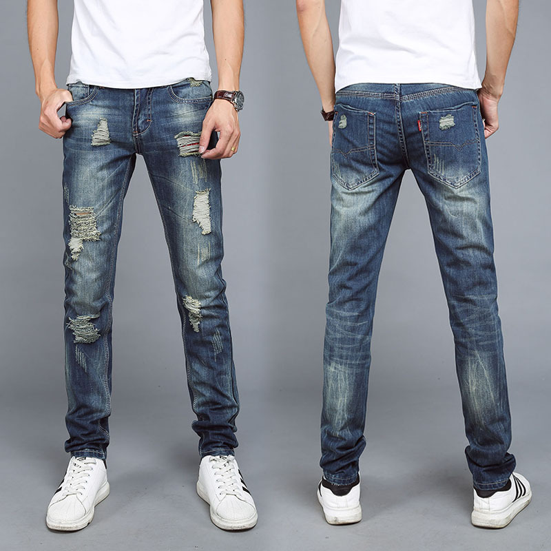 Icpans jeans men straight 2018 fashion patch men jeans holes trousers zip tide nostalgic