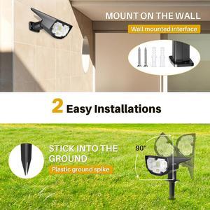Image 3 - 4 パック litom 12 led ソーラーガーデンライトアップグレード IP67 防水ランプ屋外 2 照明モード 2 · イン · 1 調節可能なソーラースポットライト