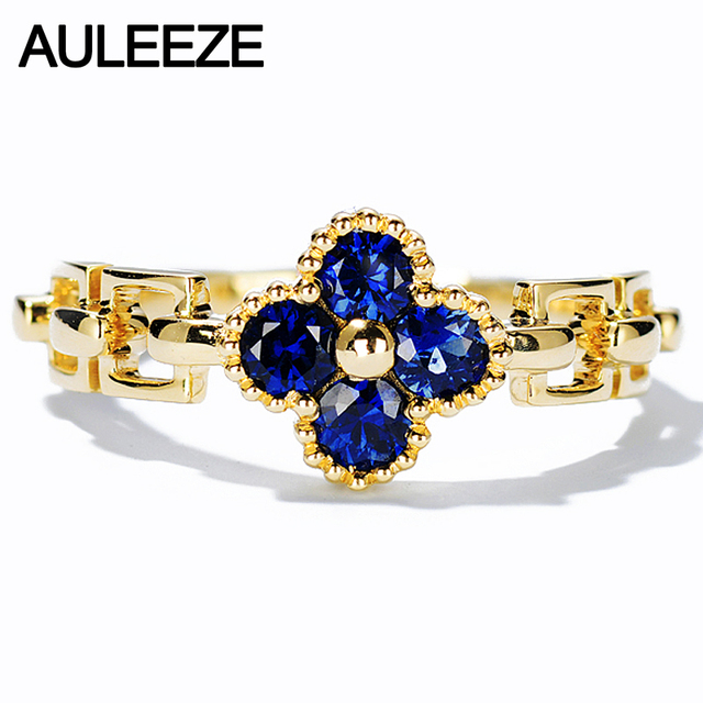 AULEEZE 0.5cttw Natural Sapphire Anniversary Rings For Women Real 18K Yellow Gold Four Leaf Clover Ring Fine Jewelry Best Gift