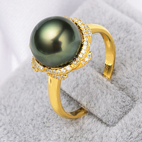 YS Fine Jewelry 9 10mm Natural Black Tahitian Cultured Pearl 925 Sterling Silver Ring Latest