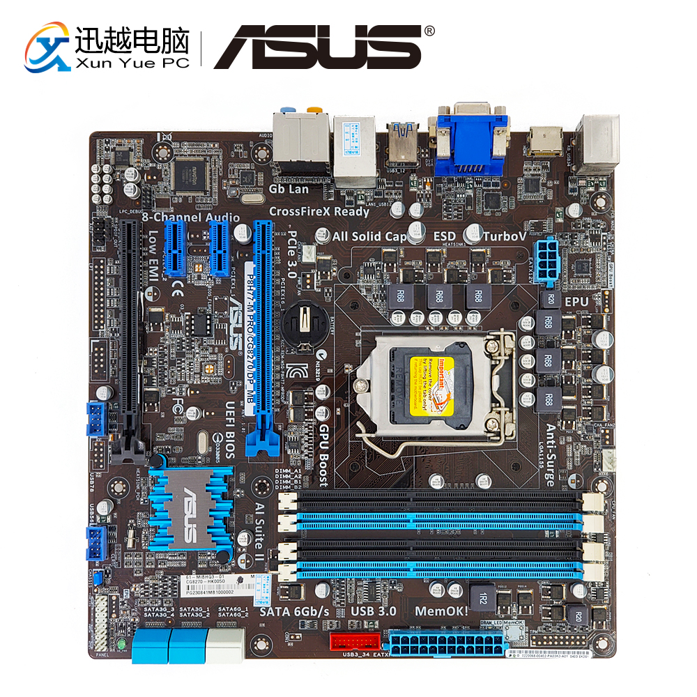 Asus P8H77-M PRO/CG8270/DP_MB Desktop Motherboard P8H77-M PRO H77 Socket LGA 1155 i3 i5 i7 DDR3 32G VGA DVI uATX buff бандана buff frozen child polar buff one size olaf blue navy