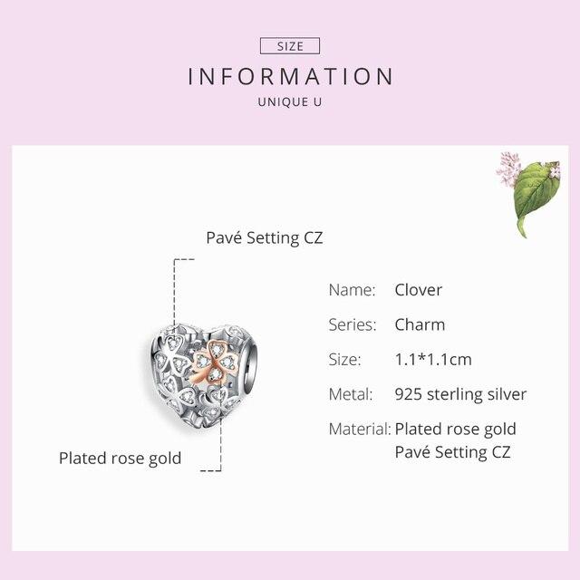 WOSTU véritable argent Sterling 925 ajouré coeur breloque pour Bracelet Original pendentif perles chanceux de mariage bijoux de mode FIC1248