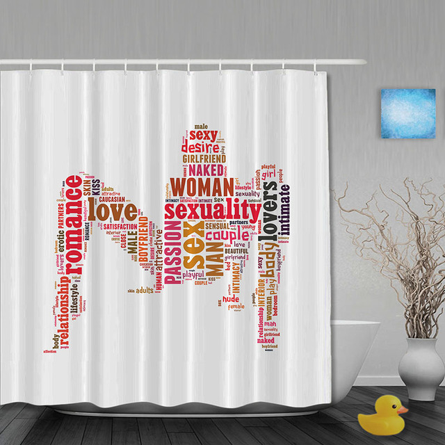 Y Woman Bathroom Shower Curtains Romance Love Curtain Waterproo Polyester Fabric Custom Hooks