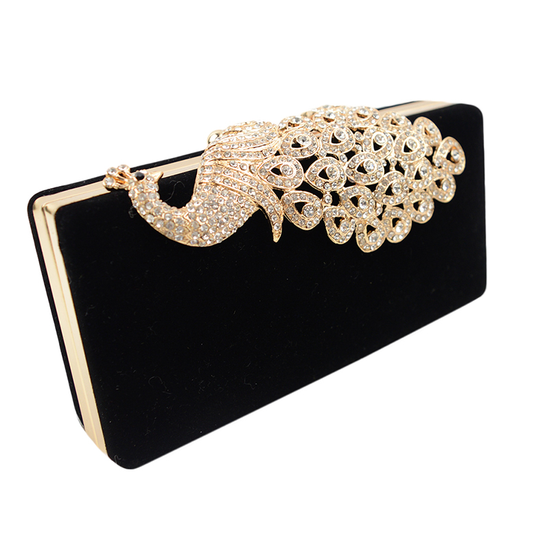 New 2016 Peacock Diamonds Women Evening Bags 6 Colors Small Day Clutches Handbags With Chain Shoulder Bags