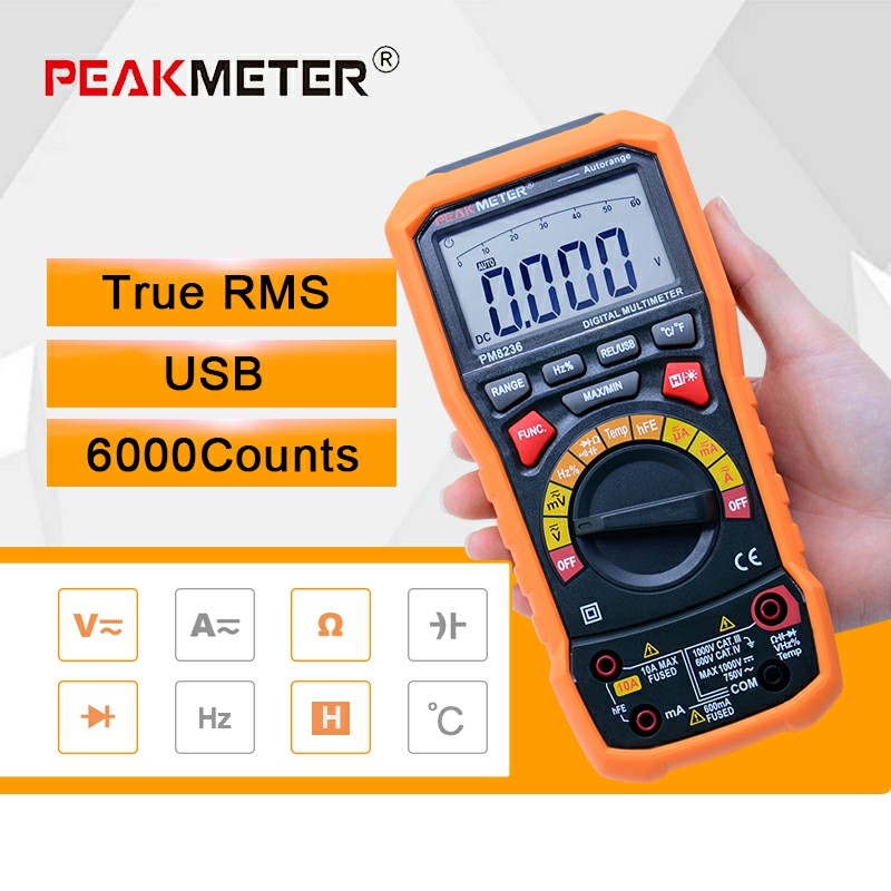 Digital Multimeter tester Auto Range multimetro Temperature Tester and Data Logger 6000 counts PEAKMETER MS8236