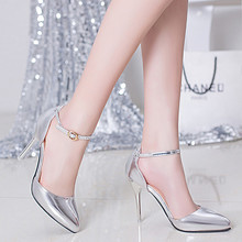 Gold & Silver 2016 Patent Leather Women High Heels Shoes Red Bottoms Pumps Pointed Toe Sexy Party Shoes D54 35