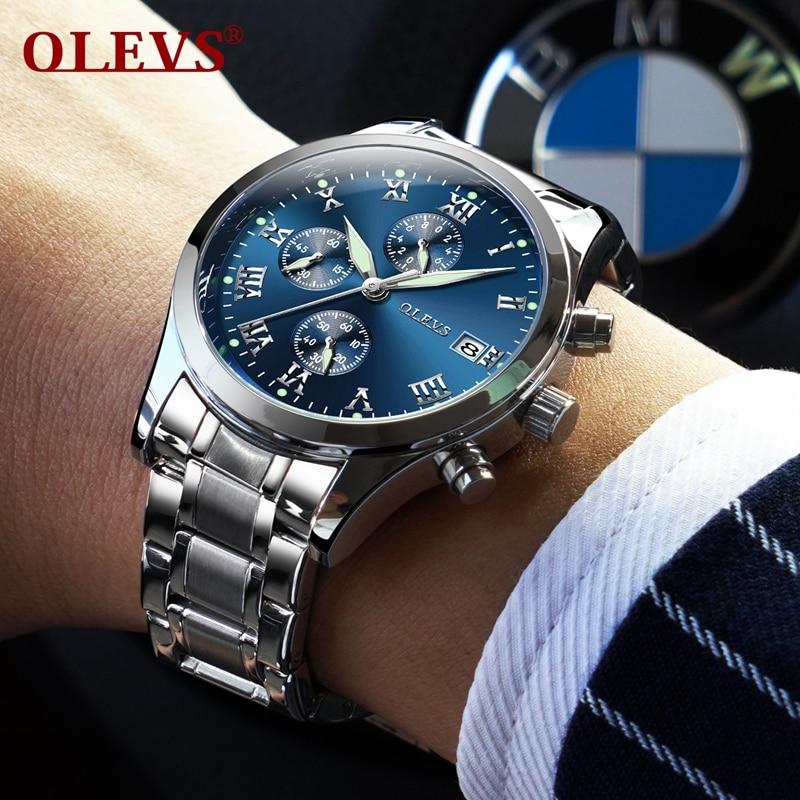 a3d40f1a7f8 OLEVS Lazer Homens Relógio Marca De Luxo Auto Data Quartz Negócios Relógios  Dos Homens de Aço Inoxidável Relógio de Pulso Esportes Relógio Luminoso em  ...