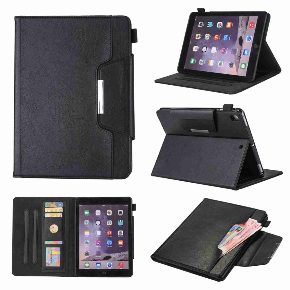 Business PU Leather Cover Case For Apple Ipad Air 1 Air 2 Pro 9.7 2017 9.7 Tablet Case Smart Stand Cover+Stylus Pen+Film.
