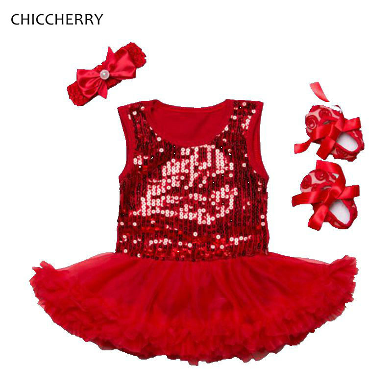 Red Brilliant Paillette Valentines Day Outfit Lace Tutu Dress Headband Crib Shoes Toddler Tutu Birthday Dress Baby Girl Clothes