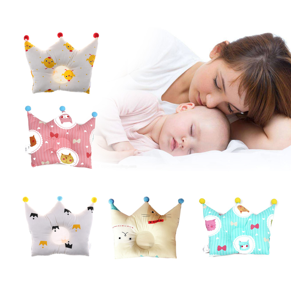 Cotton Baby Pillow Crown Infants Shaping Pillow Cartoon Toddler Kids Positioner Anti Roll Cushion Flat Baby Head Protection