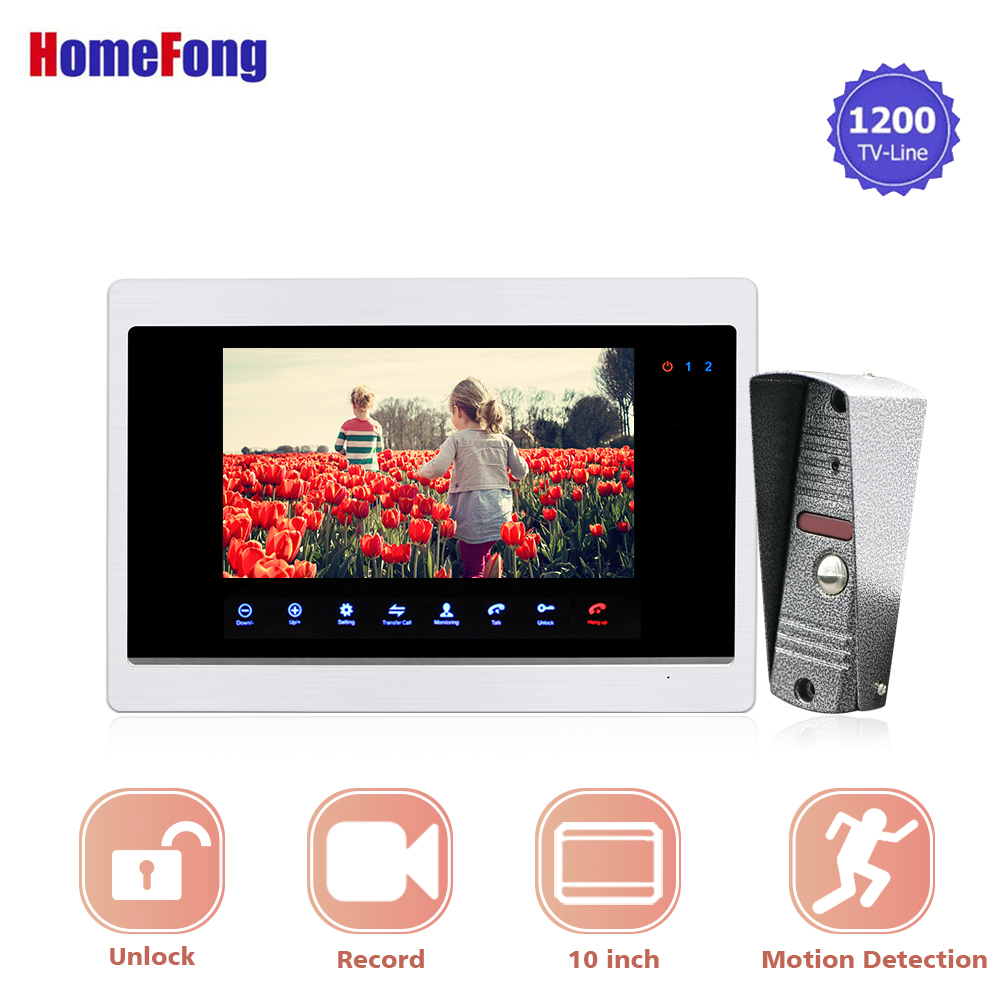 Homefong 10 Inch  Video Door Phone Doorbell Intercom System 1200TVL Bell With Camera Recording Intercoms For A Private House