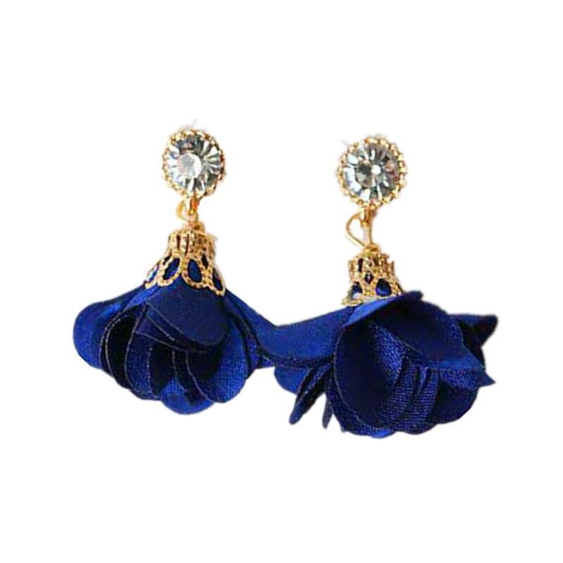 Fashion temperament cloth flowers sparkling rhstone earrings 4ED377