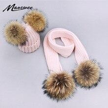 Девочки помпон шапки и наборы шарфов зимние вязаные теплые натуральный мех помпон шапка шарф толстые шапочки шапки дети ребенок твердые кости