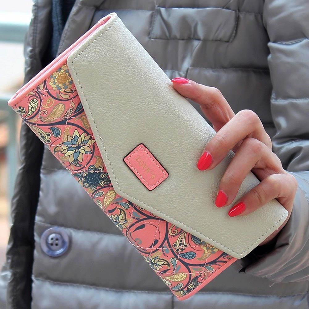 New Fashion Envelope Women Wallet Hit Color 3 Fold Flowers Printing PU Leather Wallet Long Ladies Clutch Coin Purse  Best Sale-W