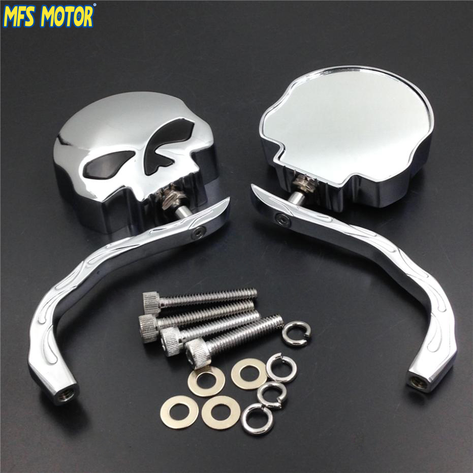 motorcycle chrome accessories chopper harley skull mirrors bobber side sportster softail flame dyna aliexpress motorcycles covers mirror