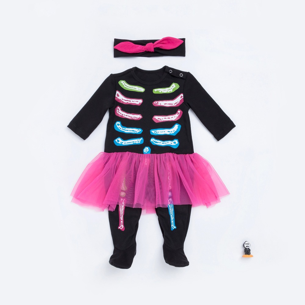 Halloween colorful bone ribs style baby girls cotton rompers hat/ headwear new infant clothes autumn kids soft jumpers 17S907