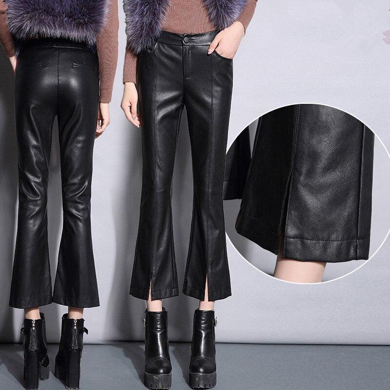 2017 mode cuir pantalon femmes automne hiver nouveau femmes taille haute Flare pantalon noir mince mince Faux cuir pantalon décontracté