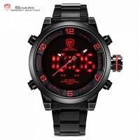 New Shark Sport Watch Red Black Dial Steel Band Dual Movement Reloj De Pulsera LED Display