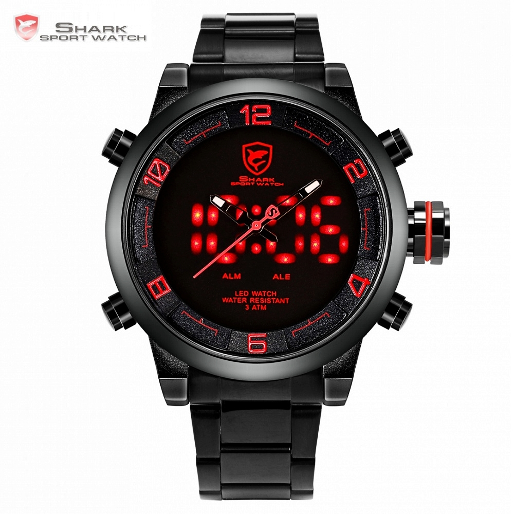 gulper shark sport watch black yellow relogio dual time 3d analog display date alarm quartz male steel wrist army watches sh107 Gulper Shark Sport Watch Red Black Digital Steel Band Dual Movement LED Date Alarm Homme Male Men Clock Relogio Masculino /SH360