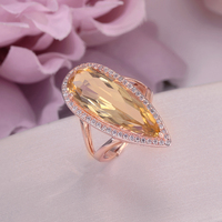 Fine Jewelry 925 Silver Rings For Women Citrine Natural Gemstone Water Drop Yellow Luxury 18K Gold Plated Big Ring CCRI041