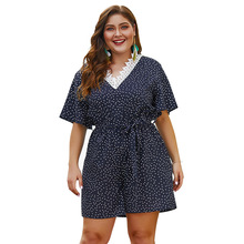 Kimuise lace patchwork v neck summer women dress flare sleeve mini plus size polka dot boho dress causal 4XL female beach dress plus size flare sleeve lace dress