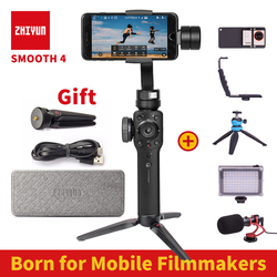 PreSale Zhiyun Smooth 4 3 Axis Handheld Gimbal Auto focus Stabilizer for iPhone X Gopro Hero sjcam cam xiaomi PK Smooth Q