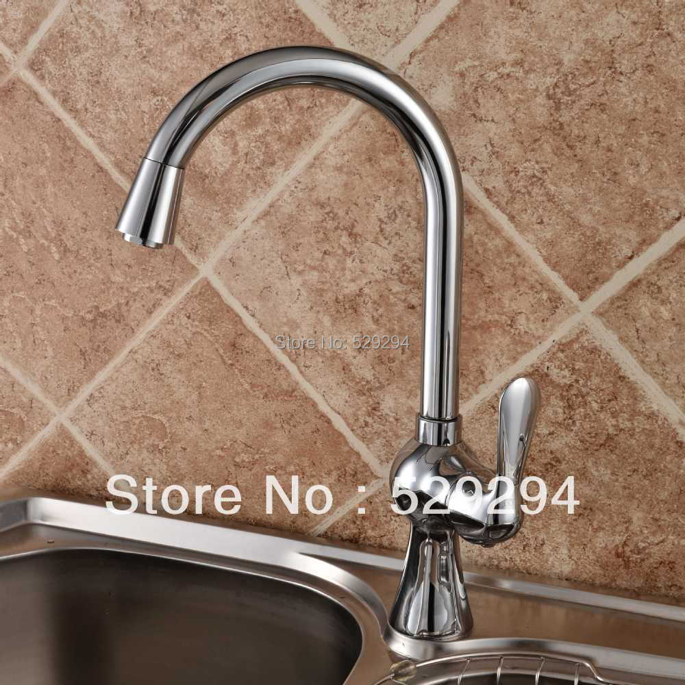 Fashion Chromed kitchen faucet Vessel vanity hot cold kitchen sink Mixer tap Swivel kitchen water faucet