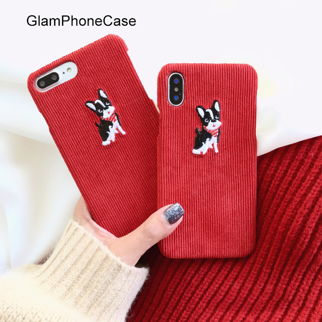 half off a68ec 8ca09 US $5.26  GlamPhoneCase Winter Red Fabric Phone Case For iPhone 6 6S 7 8  Plus 6splus X Cute 3D Cartoon Dog Hard Cloth Back Cover -in Fitted Cases  from ...