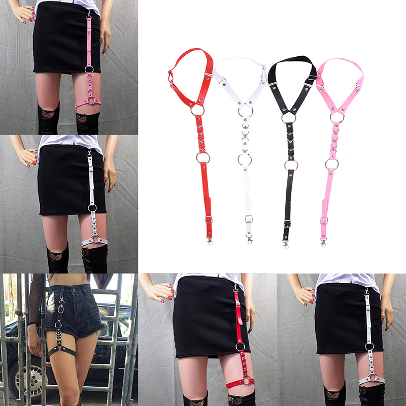 Fashion Harajuku Leather Shirt Punk Suspenders Men Women Hook Adjustable Leg Ring Handmade Sock Garter Suspender Bretels Belt