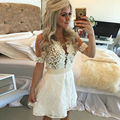 White Lace Cocktail Dress Short Sleeve Mini Evening Party Gown 2016 Vestido de festa curto com pedras Pearls Backless