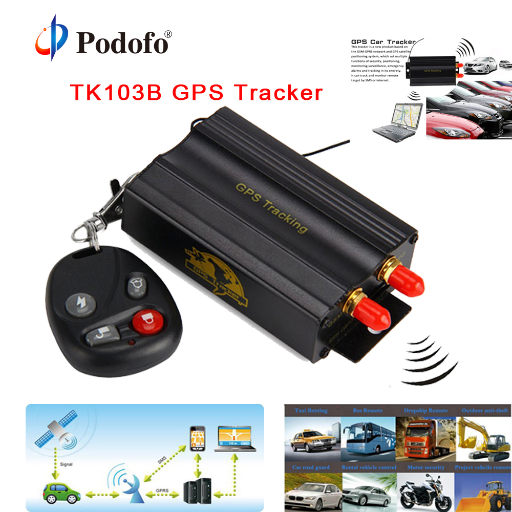 Podofo tk103b Vehicle Car GPS Tracker GSM/GPRS Tracking TK103 GPS103B Real time tracker Door shock sensor ACC alarm GPS System 8800mah big battery power bank gps tracker t8800se gsm alarm gprs real time tracking locating
