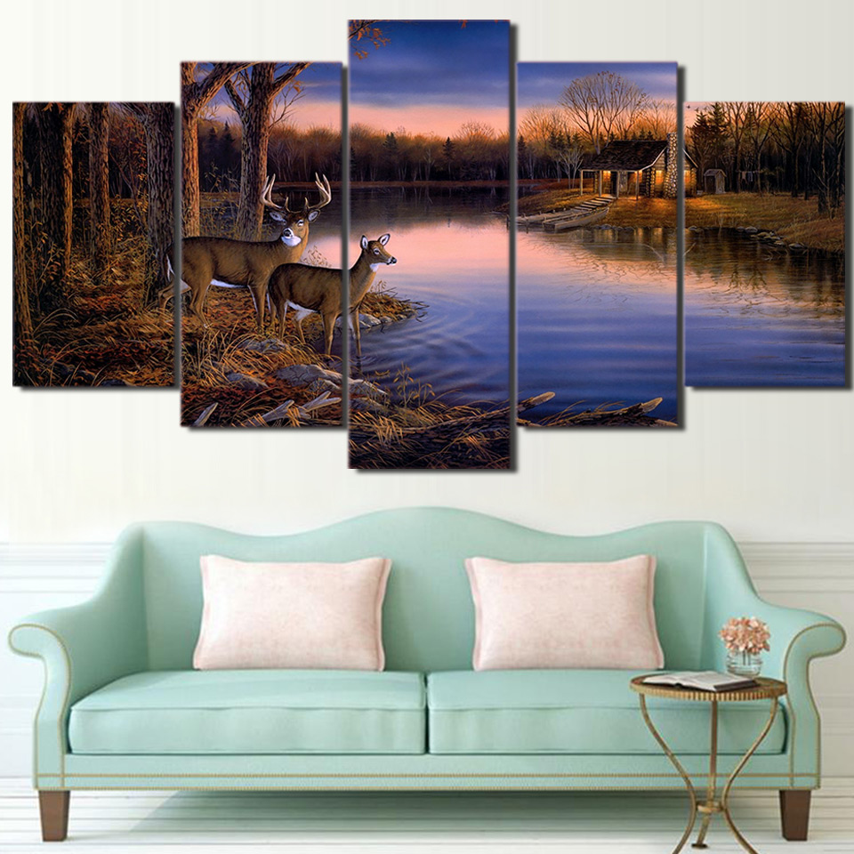 Cartel del arte Decoración para el hogar Sala 5 unidades animal Deer puesta naturaleza paisaje lienzo cuadros modulares Marcos