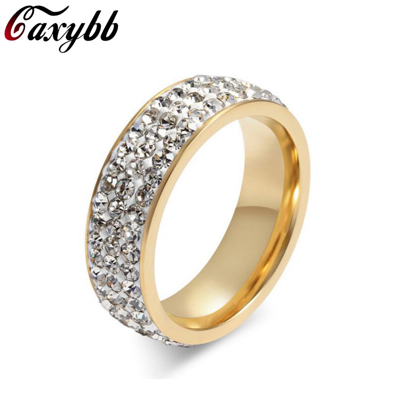 Caxybb Gorgeous Full Paved Wedding Band Designed Simulated Rings Rhodium Plated Jewelry for Women Bague Femme