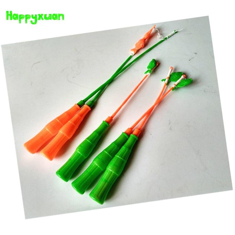 Happyxuan 5pcs/lot Fishing Games Children 34cm Magnetic Fish Rod Toy Plastic Retractable Pole for Kids