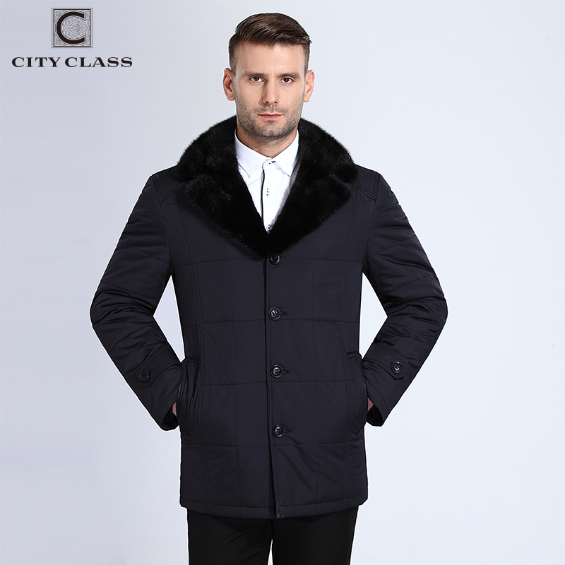 CITY CLASS 14M105 New men fashion casual slim fit sewing Thinsulate removable suit mink collar free shipping blue winter 14M105