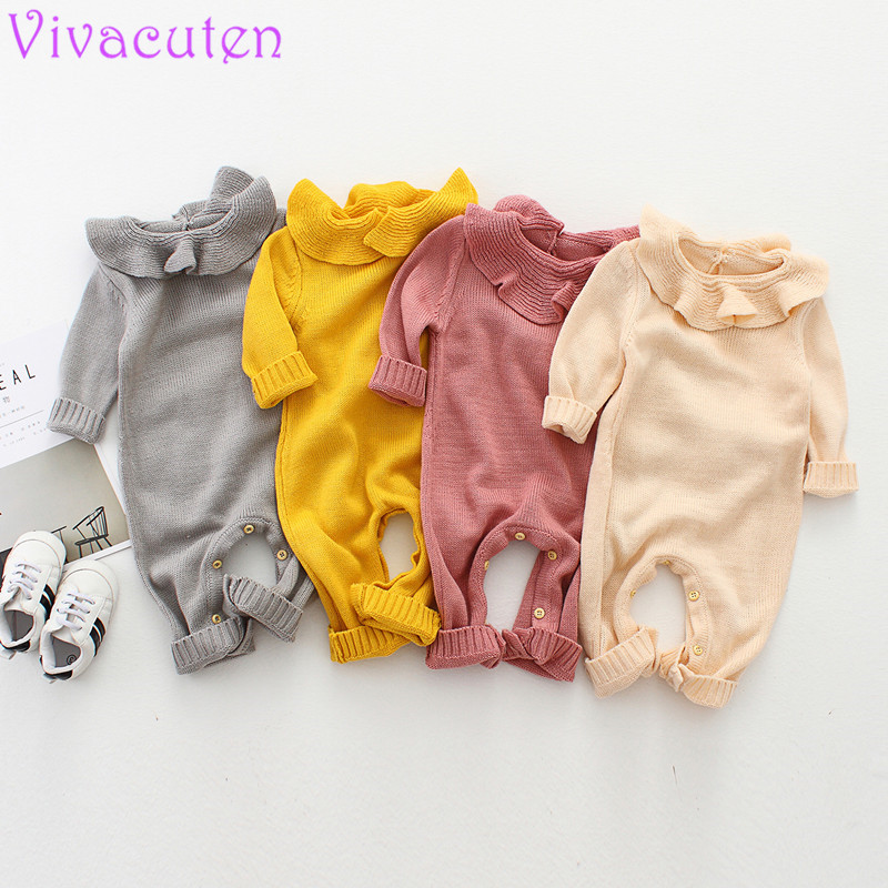 Spring Baby Girl Knitted Rompers Cotton Ruffle Newborn Baby Clothes Autumn Long Sleeve Girls Boys Jumpsuit Kids Outfits Overalls mother nest 3sets lot wholesale autumn toddle girl long sleeve baby clothing one piece boys baby pajamas infant clothes rompers