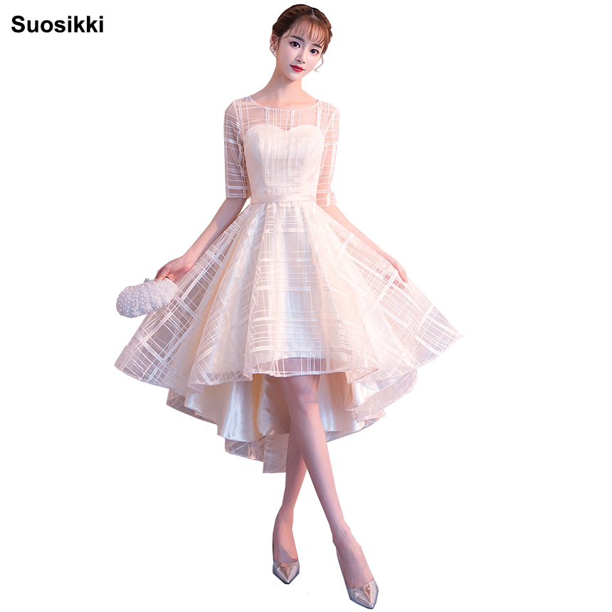 Suosikki Elegant 0-Neck A-Line Lace   Evening     Dress   short Cheap Prom   Dresses   Robe De Soiree Party   Dress   With Half Sleeves