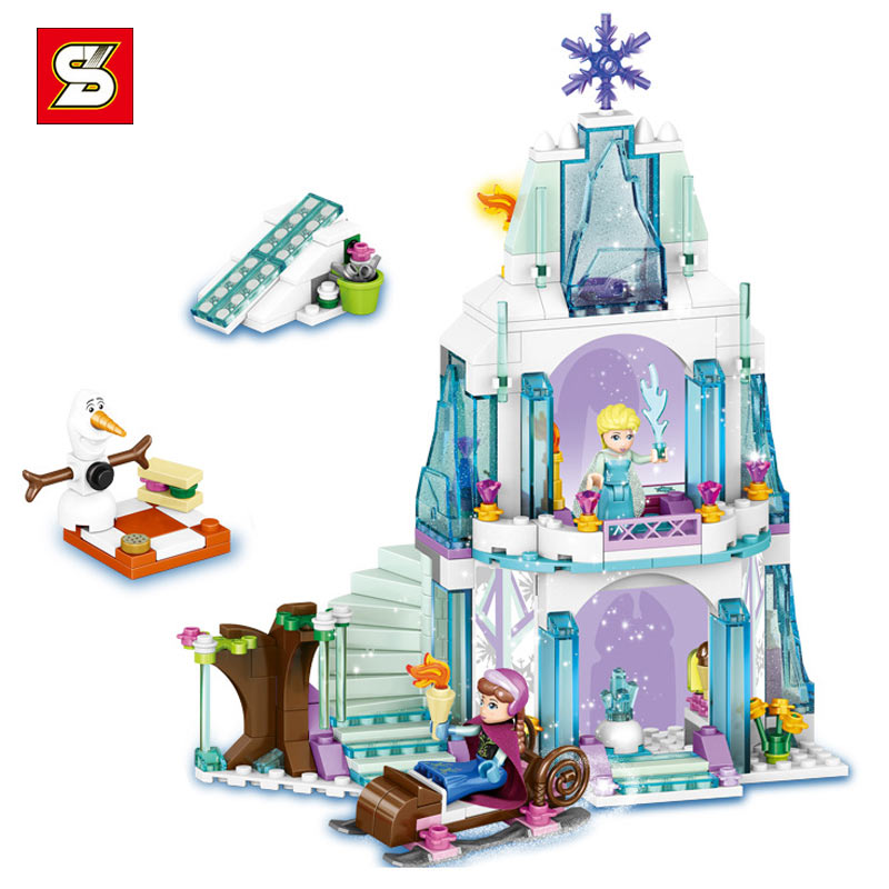 New Arrival Enlighten Plastic Bricks 314Pcs Princess Elsa Castle Sparkling Scenes Children s Building Blocks To