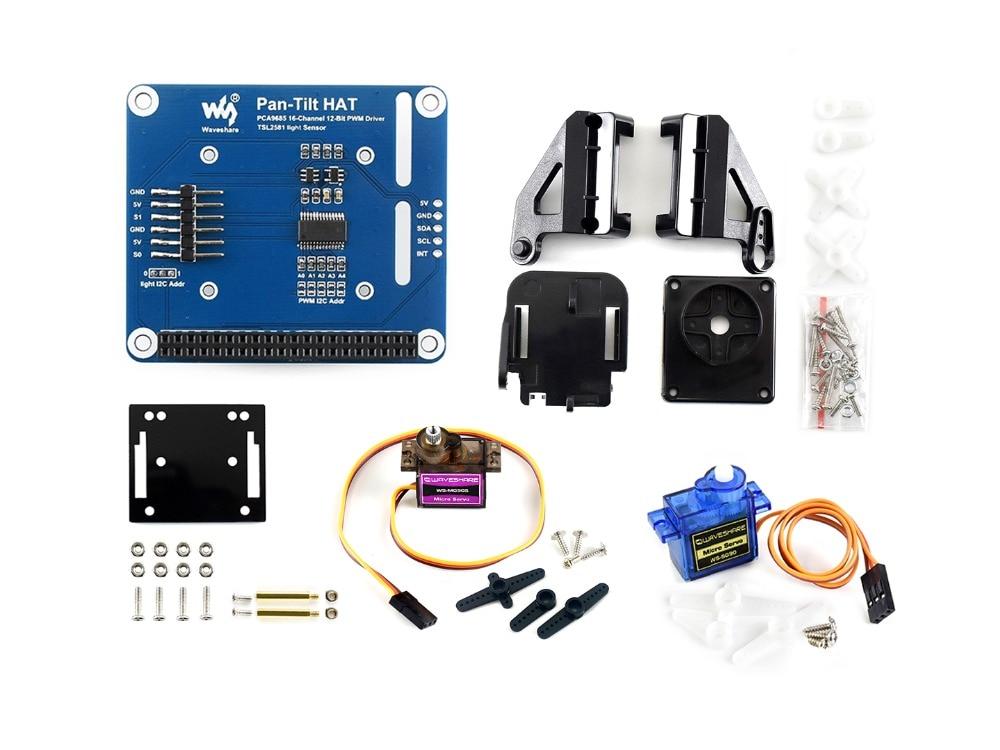 Waveshare 2-DOF Pan-Tilt HAT For Raspberry Pi Light Intensity Sensing I2C Interface PCA9685 PWM Chip TSL2581 Light Sensor