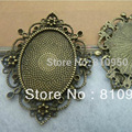 Free Shipping! 60*53MM Alloy/Metal Antique Bronze lace pendant cabochon,alloy base cameo settings Inner:30*40MM,resin cameo