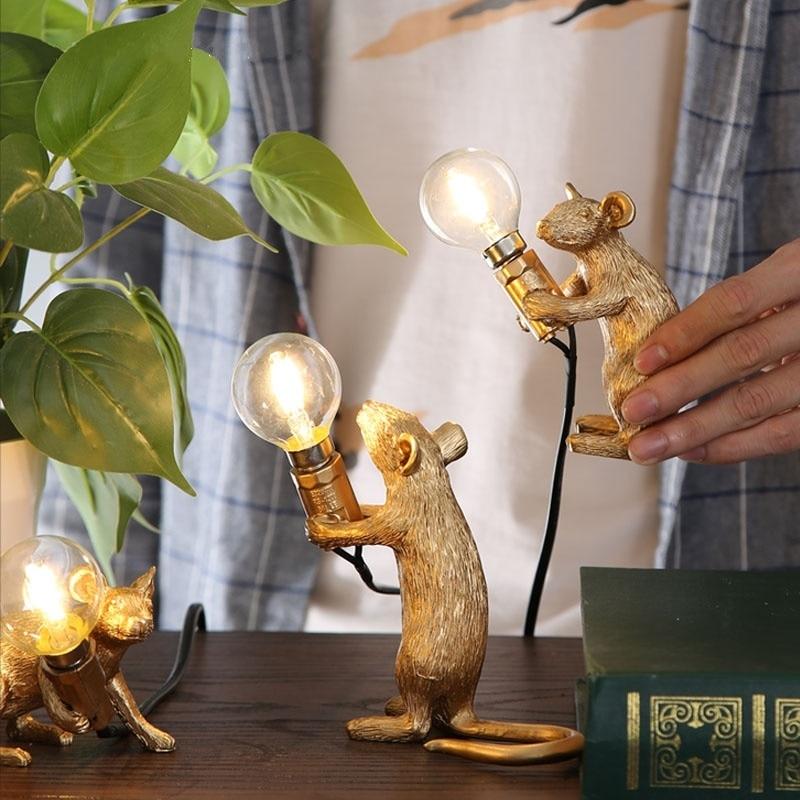 Masa üçün Nordic Dizayn Siçan lampası Yataq otağı Yataq otağı Dekor luminariya masası Qızıl Ağ Rəngli Bədən Qatranı Mouse masa lampa armaturları