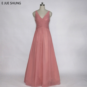 E JUE SHUNG Dusty Pink Chiffon Cheap Evening Dresses Long A-Line V-neck Long Prom Dresses Formal Dresses abendkleider