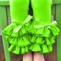 Verde limão cintura leggings menina triplo ruffle leggings meninas gelo calças plissado cor sólida