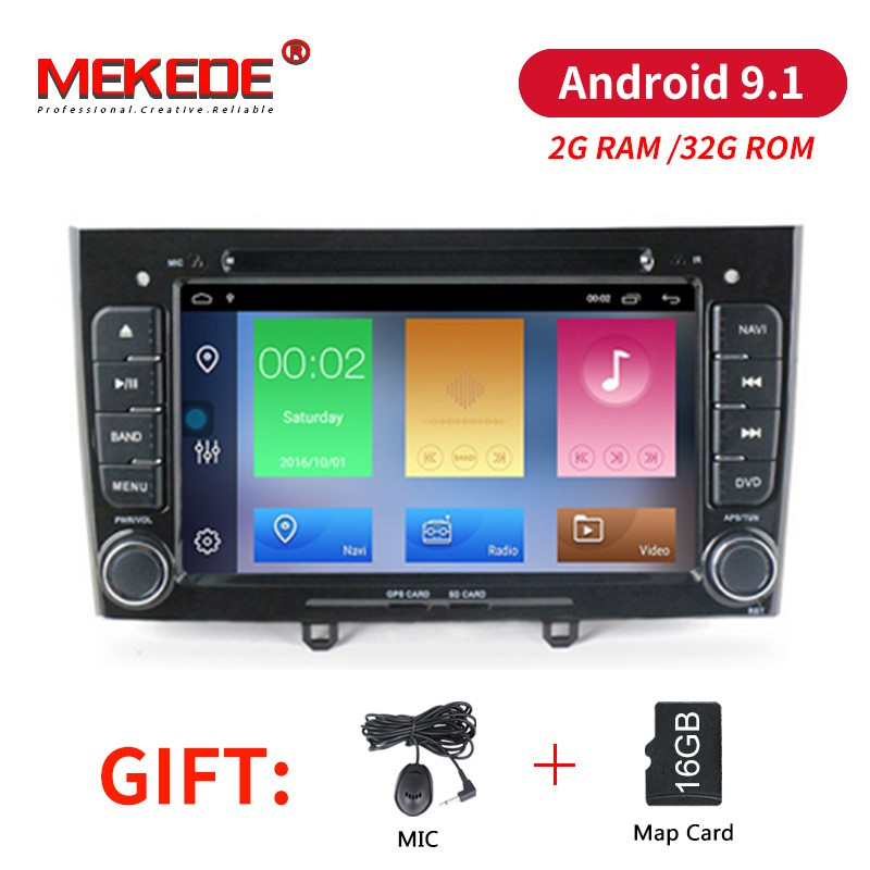 MEKEDE Android 9.1 Quad Core Car DVD Player GPS Navigation for Peugeot 408 308 308SW Audio Radio Stereo 2G RAM 32G Rom