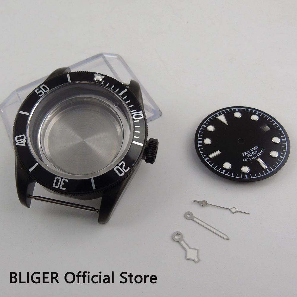 Sapphire Glass 41MM Bliger Black PVD Case Stainless Steel Watch Case Fit ETA 2824 2836 Movement Case+Luminous Hands+Sterile Dial 41mm pvd black steel case dial hands luminous set for eta 2824 2836 miyota 8215 movement