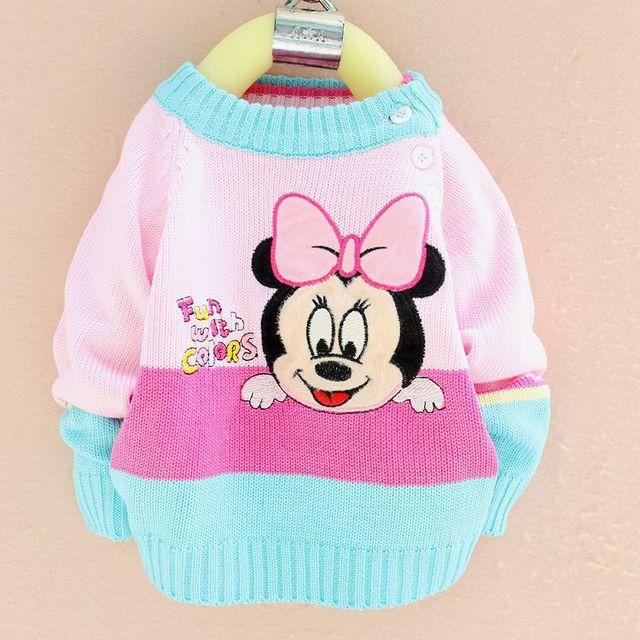 Одежда для новорожденных вязаные свитера шею пуловеры горячие новые дети мультфильм детские для мальчика девушки свитер
