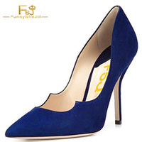 Autumn 2017 Blue Suede Womens Chic Comfort Evening Dress Shoes Pointed Toe Slip On Stilettos High